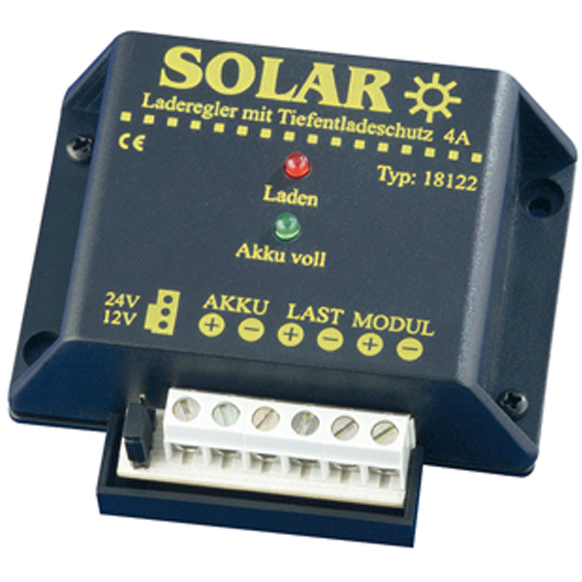 12V/24V napelemes töltésvezérlő 4A Kisülés védelemmel